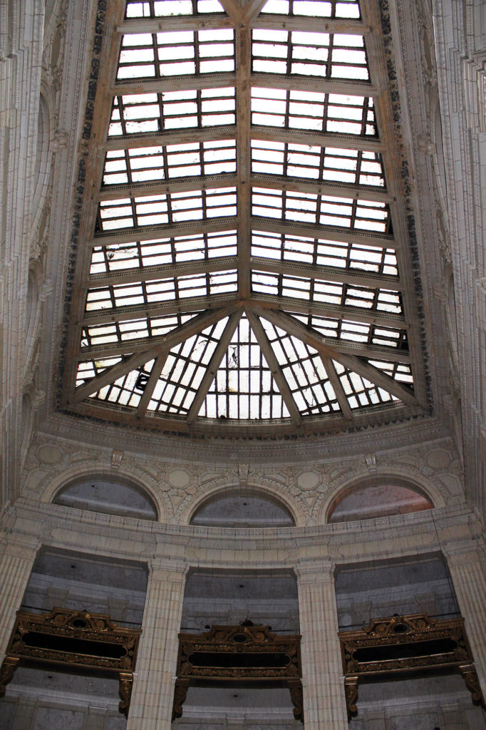 Inside the David Whitney Building before renovations.