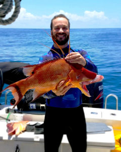 Terrance Sterrett with colorful hogfish